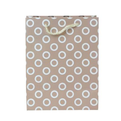 """Paper Pep Packaging Collection Pink Polka Silver Foil 7""""X4""""X9"""" Small Paper Bag (Pack of 1)"""