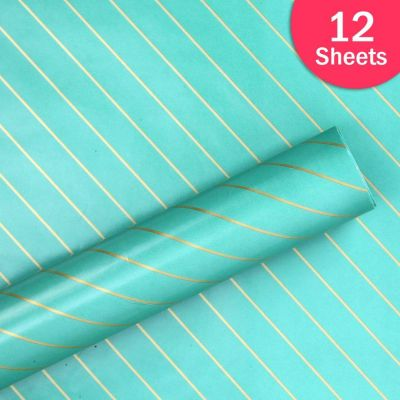 """Paper Pep Packaging Collection Green Diagonal Lines Print 27""""X40"""" Paper Series Wrapping Paper Pack of 12 Sheets"""