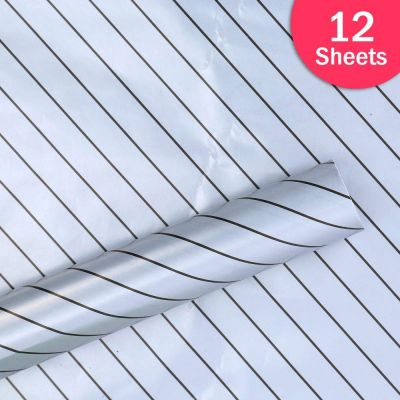 """Paper Pep Packaging Collection Silver Diagonal Lines Print 27""""X40"""" Paper Series Wrapping Paper Pack of 12 Sheets"""