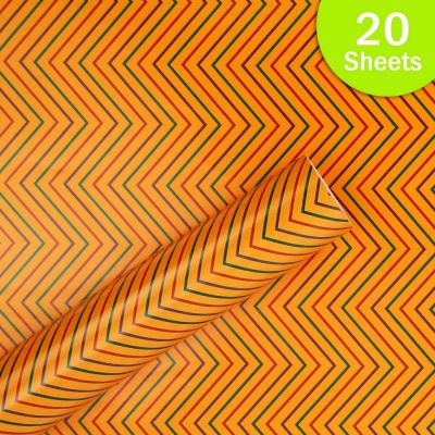 """Paper Pep Packaging Collection Orange Zig Zag Lines Print 21""""X30"""" Paper Series Wrapping Paper Pack of 20 Sheets"""