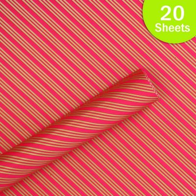 """Paper Pep Packaging Collection Pink Multiple Diagonal Lines Print 21""""X30"""" Paper Series Wrapping Paper Pack of 20 Sheets"""