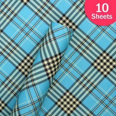 """Paper Pep Packaging Collection Blue Checks Print 19""""X29"""" Paper Series Wrapping Paper Pack of 10 Sheets"""