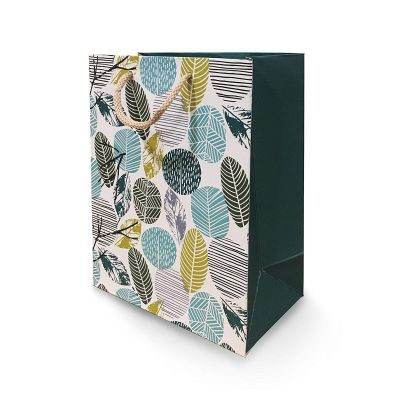 Paper Pep Packaging Collection Cream Green Leaf Paper Bag (Beige_Pack of 1, Small)
