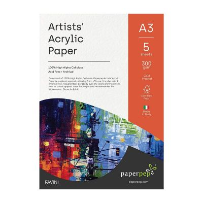 Paper Pep Artists' Acrylic Paint Paper 300GSM Cold Pressed A3 Pack of 5