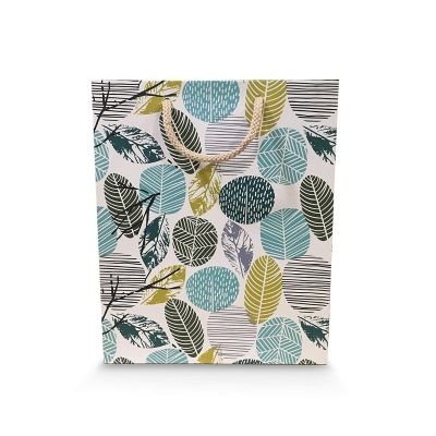 Paper Pep Packaging Collection Cream Green Leaf Small Paper Bag Pack of 1