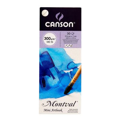 Canson Montval Cold Pressed 300 GSM Fine Grain Sheets Mini Artbook (30 Sheets With 1 Mini Watercolor Brush Inside This Pack)